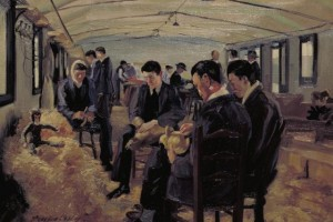 A painting of a toy workshop at Queen Mary's Hospital, Sidcup by  J Hodgson Lobley 1918