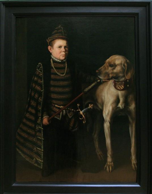 800px-Antonio_Moro-Le_nain_du_cardinal_de_Granvelle_tenant_un_gros_chien-1549-53
