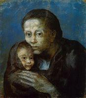 175px-Pablo_Picasso,_1903,_Desemparats_(Maternité,_Mère_et_enfant_au_fichu,_Motherhood),_pastel_on_paper,_47.5_x_41_cm,_Museu_Picasso,_Barcelona