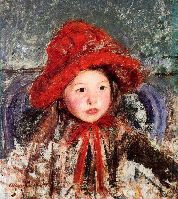 4-Little-Girl-in-a-Large-Red-Hat-impressionism-mothers-children-Mary-Cassatt