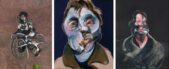 Francis-Bacon-Portrait-of-George-Dyer-Riding-a-Bicycle-1966-Self-Portrait-1969-Portrait-of-Isabel-Rawsthorne-1966