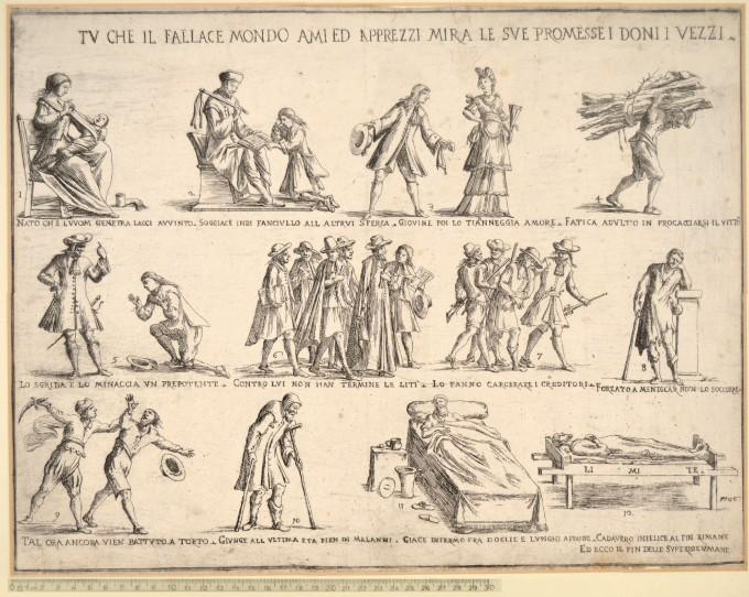 GIUSEPPE MARIA MITELLI Bologna 1634 - 1718_ TU CHE IL FALLACE MONDO AMI ED APPREZZI MIRA LE SUE PROMESSE I DONI I VEZZI Etching,
