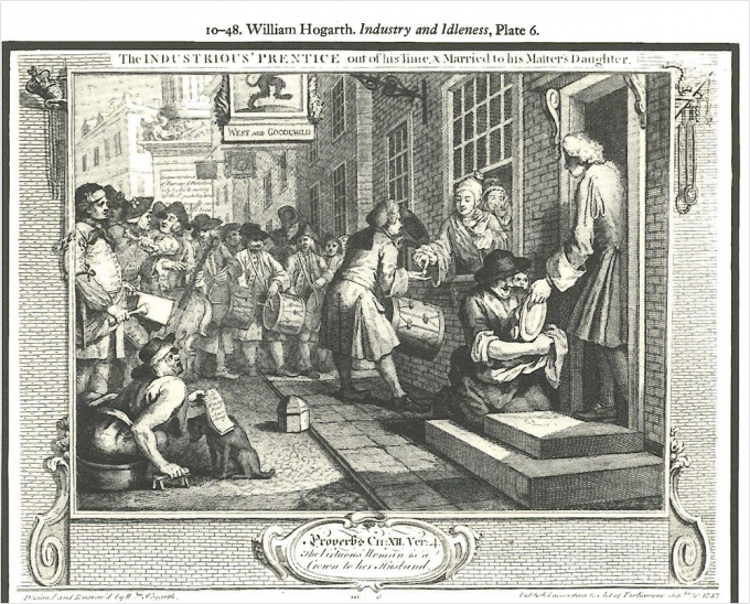 Hogarth Plate 6 Industry and Idleness Billy in the Bowl and band