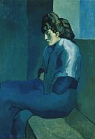 Pablo_Picasso,_1902-03,_Femme_assise_(Melancholy_Woman),_oil_on_canvas,_100_x_69.2_cm,_The_Detroit_Museum_of_Art