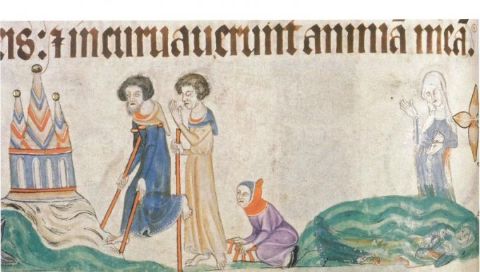 Pilgrims some lAME OMNE BLIND ON WAY TO mT.sT.mICHELE lUTTREL pSALTER, lINCOLN 1325
