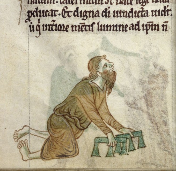 Royal 13 B VIII fol. 30v - A crippled man.