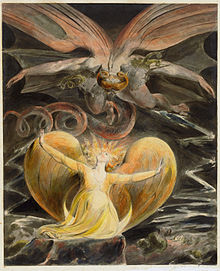 William_Blake_003Blake's The Great Red Dragon and the Woman Clothed with Sun (1805) is one of a series of illustrations of Revelation