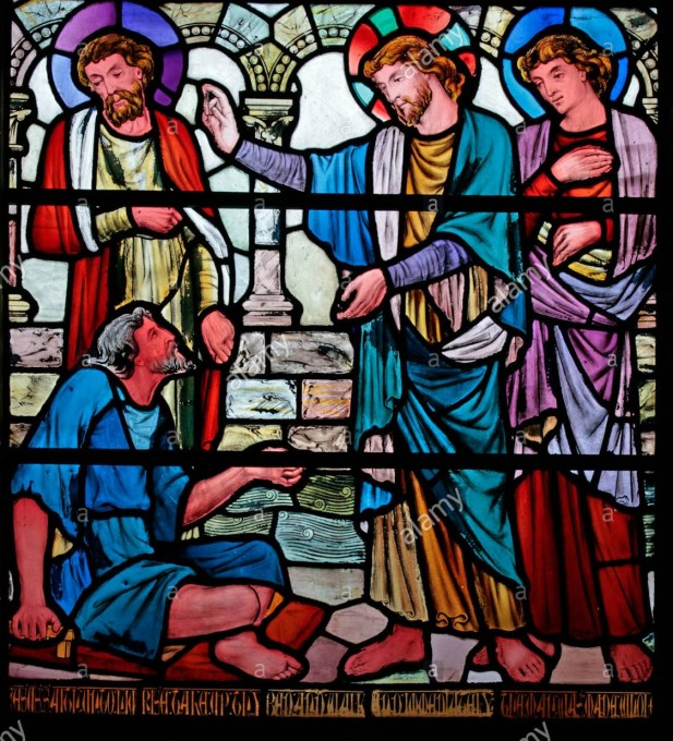 a-stained-glass-window-depicting-jesus-curing-the-man-with-palsy-church Church of Christ the Consoler, Skelton Cum Newby1
