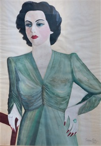 petrona-viera-la-hermana-de-la-artista,-joven-de-vestido-verde