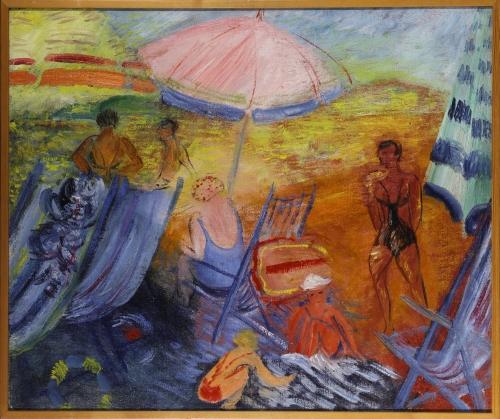 Inventarienr: NM 6307 Konstnärens namn:  Sigrid Hjertén Originaltitel: Badstrand Alternativ titel: Beach Datum: ca 1930 Fotograf: Prallan Allsten