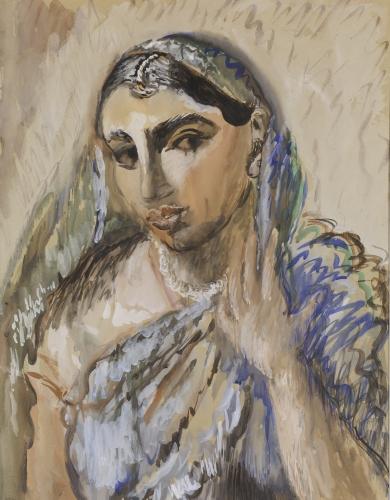 Inventarienr: MOMB 167 Konstnärens namn:  Sigrid Hjertén Originaltitel: Hinduiska Alternativ titel:  Datum: 1930 Fotograf: Prallan Allsten