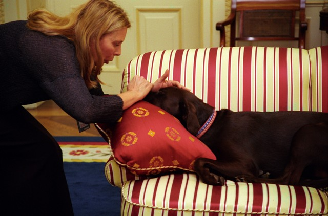 Joni_Michtell_pets_Buddy_in_the_oval_office