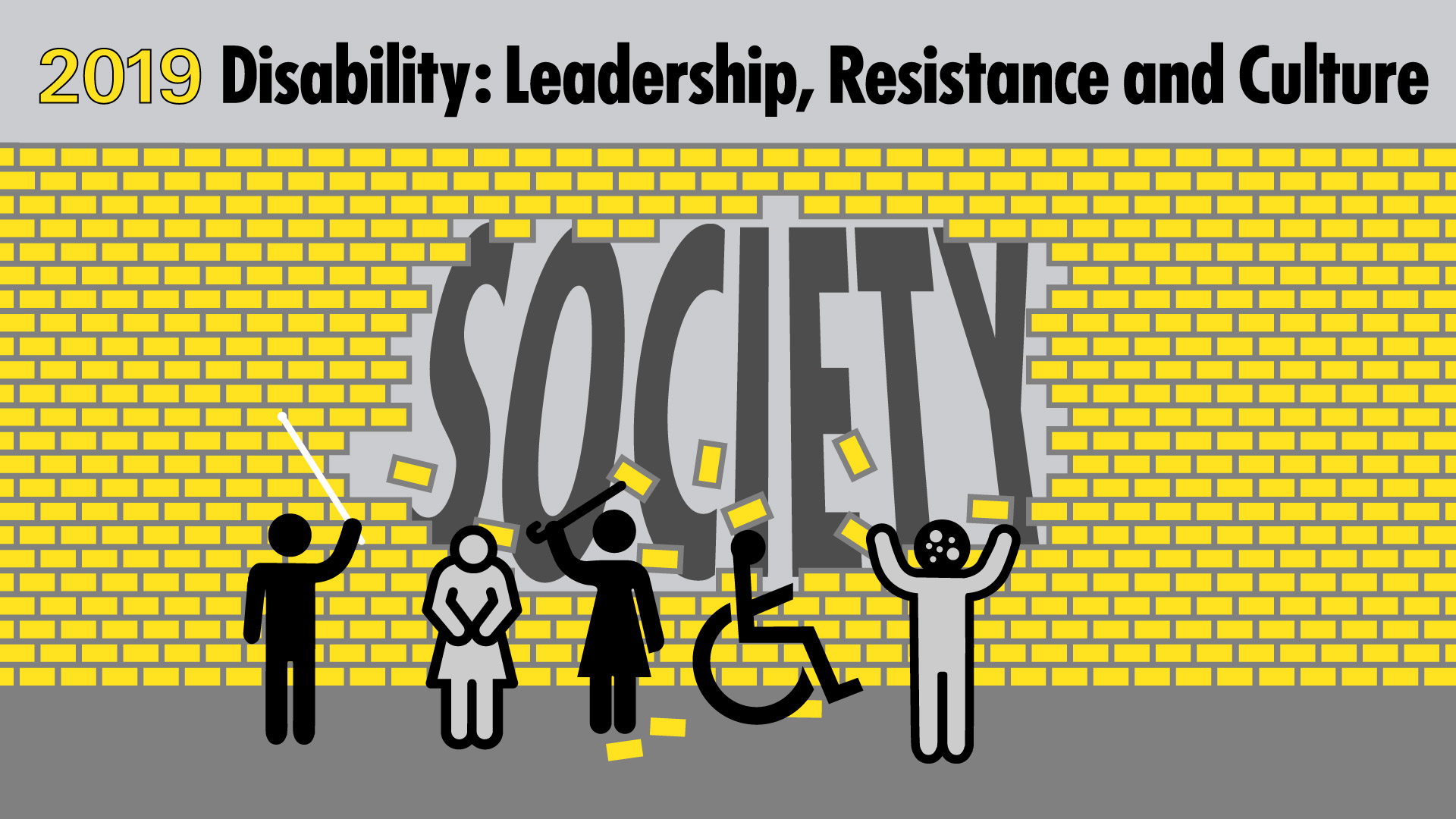 Illustration showing a group of symbols representing disabled people knocking down the wall separating them from society